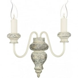 VERONA twin wall light distressed cream wood effect