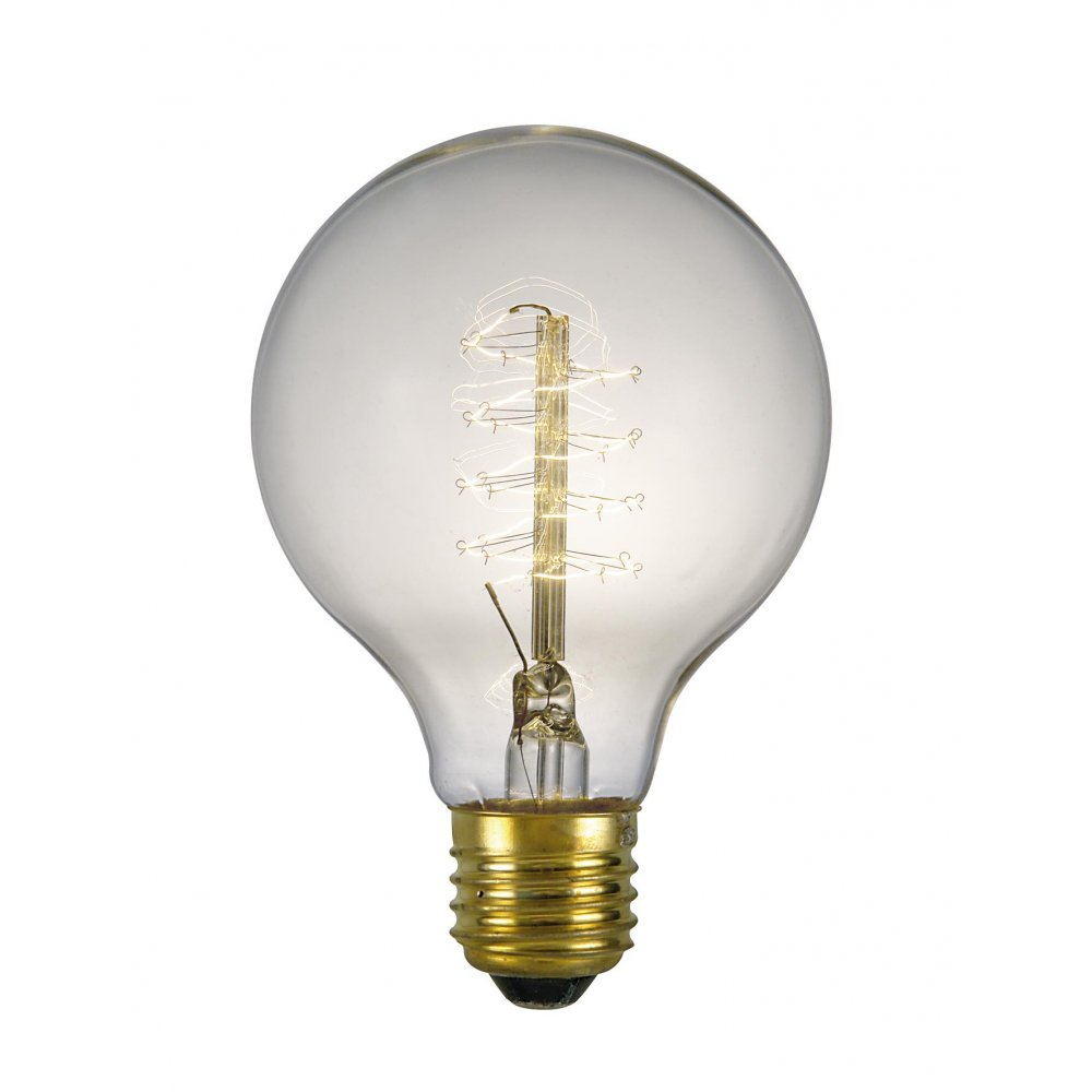 Globe Shaped Vintage Filament Bulb For Pendant Light Where Bulb Is Seen