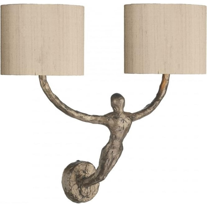 Double feature wall light with bronze figurine holding taupe shades visconti double wall light with bronze sculptured figurine and silk shades aloadofball Gallery