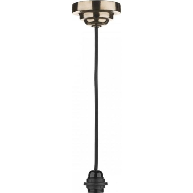 Hanging Pendant Suspension, Bronze Ceiling Rose and Long Black Cable