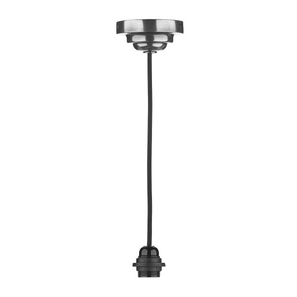 Pendant Light Fitting Suspension In Pewter With Long Black