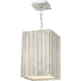 WHISTLER rectangular distressed silver ceiling pendant light, small