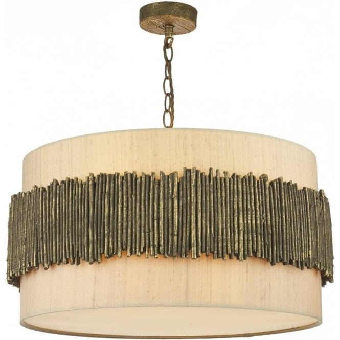 Taupe Drum Shaped Ceiling Pendant Light With Unusual Twig