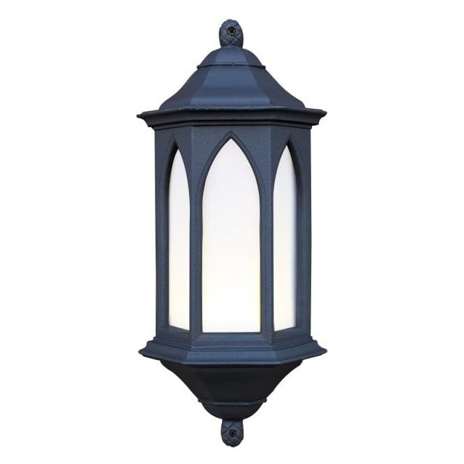 Lantern Style Wall Lights : Exterior Light. YORK Outdoor Garden Black Stone Gothic Style Wall Light.