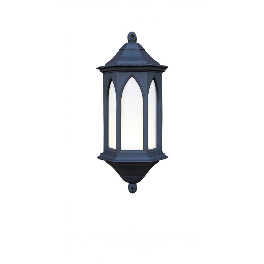 Lantern Type Wall Lights : Exterior Light. YORK Outdoor Garden Black Stone Gothic Style Wall Light.