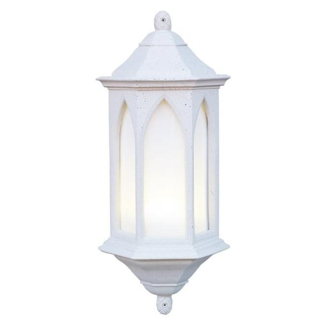 Wall Lights York: Gothic Style Exterior Wall Light YORK Stone Half Lantern IP44