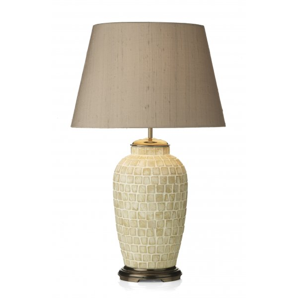 zuccaro table lamp classic shape ceramic mosaic lamp with silk shade. Black Bedroom Furniture Sets. Home Design Ideas