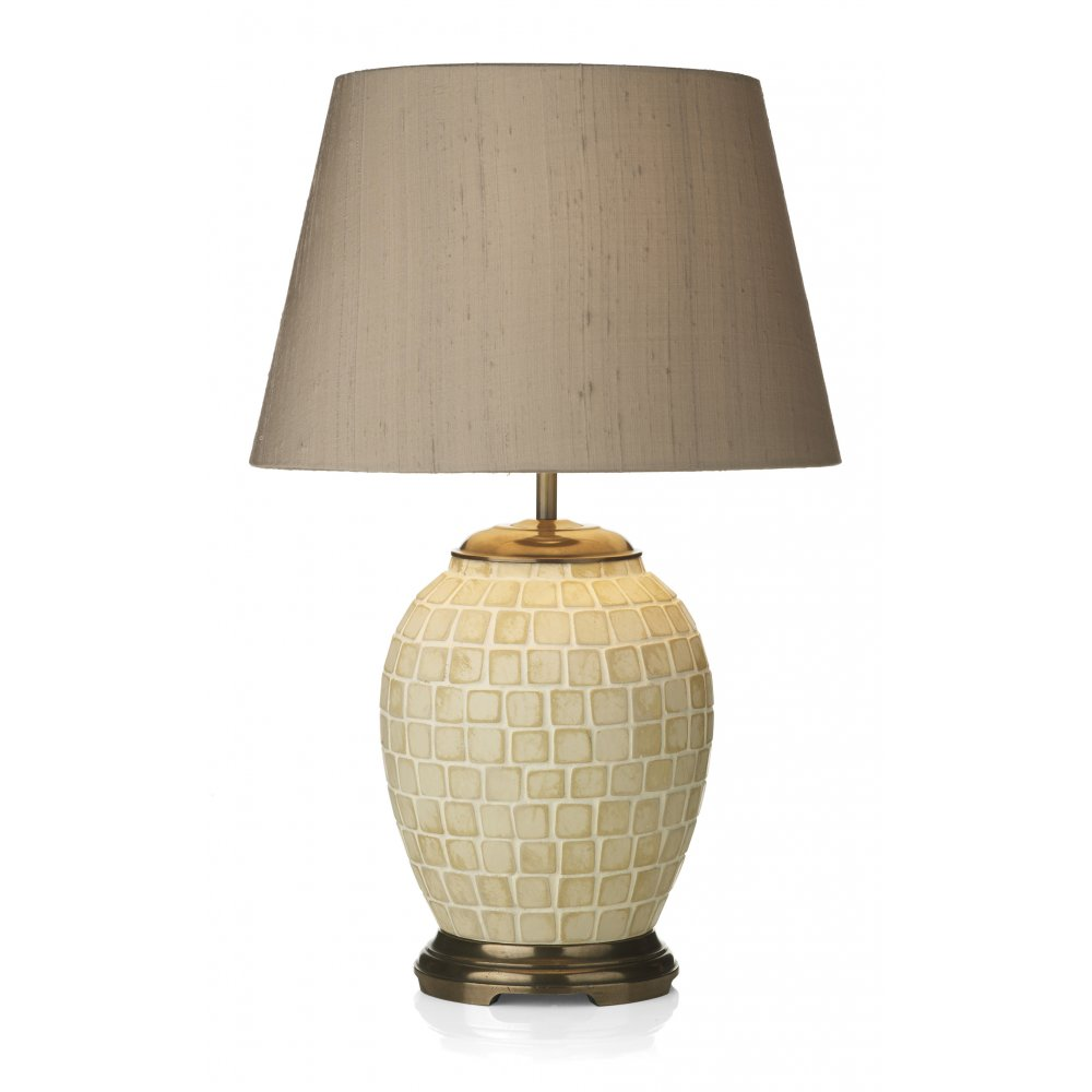 Ceramic base table lamp beige mosaic pattern with taupe Types of table lamps