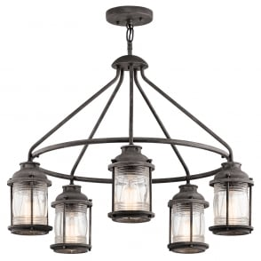 LYNDON IP44 bronze 5 light chandelier with seeded glass shades