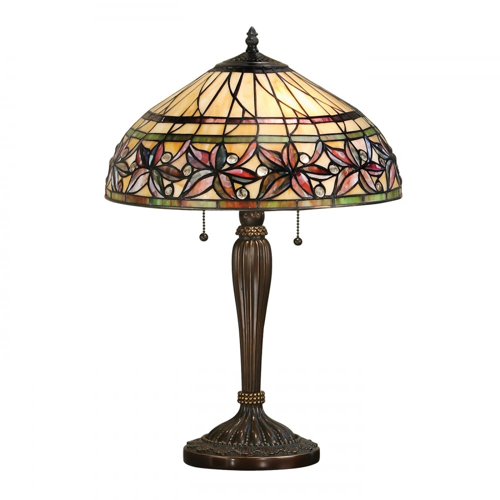 Tiffany Bronze Base Table Lamp with Traditional Floral ...