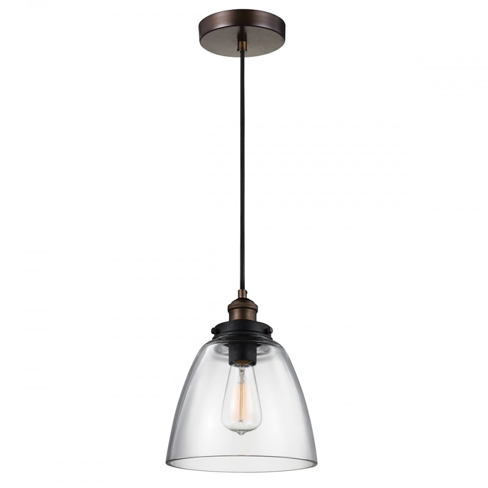 Baskin glass ceiling pendant light on aged brass and zinc fitting