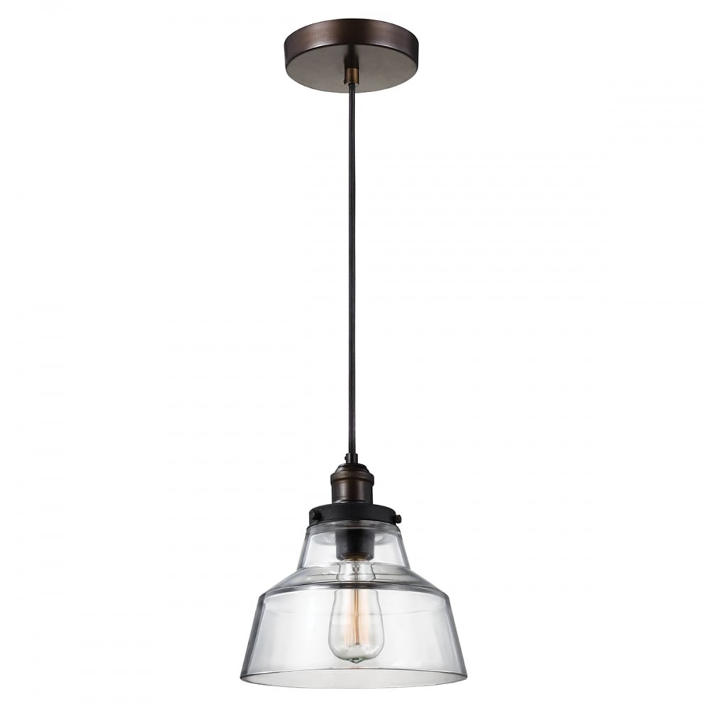 Stepped Clear Glass Ceiling Pendant on Aged Brass and Zinc ...