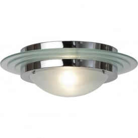 ASTRAL Art Deco flush fitting chrome and glass low ceiling light (large)