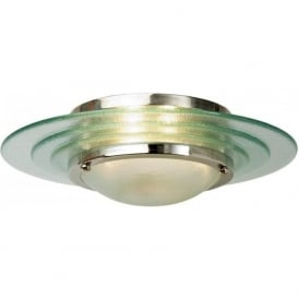 ASTRAL Art Deco flush fitting chrome and glass low ceiling light
