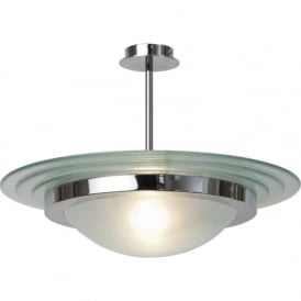 ASTRAL Art Deco semi-flush chrome and glass ceiling light (large)