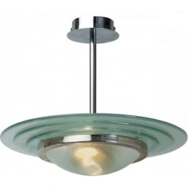ASTRAL Art Deco semi-flush chrome and glass ceiling light