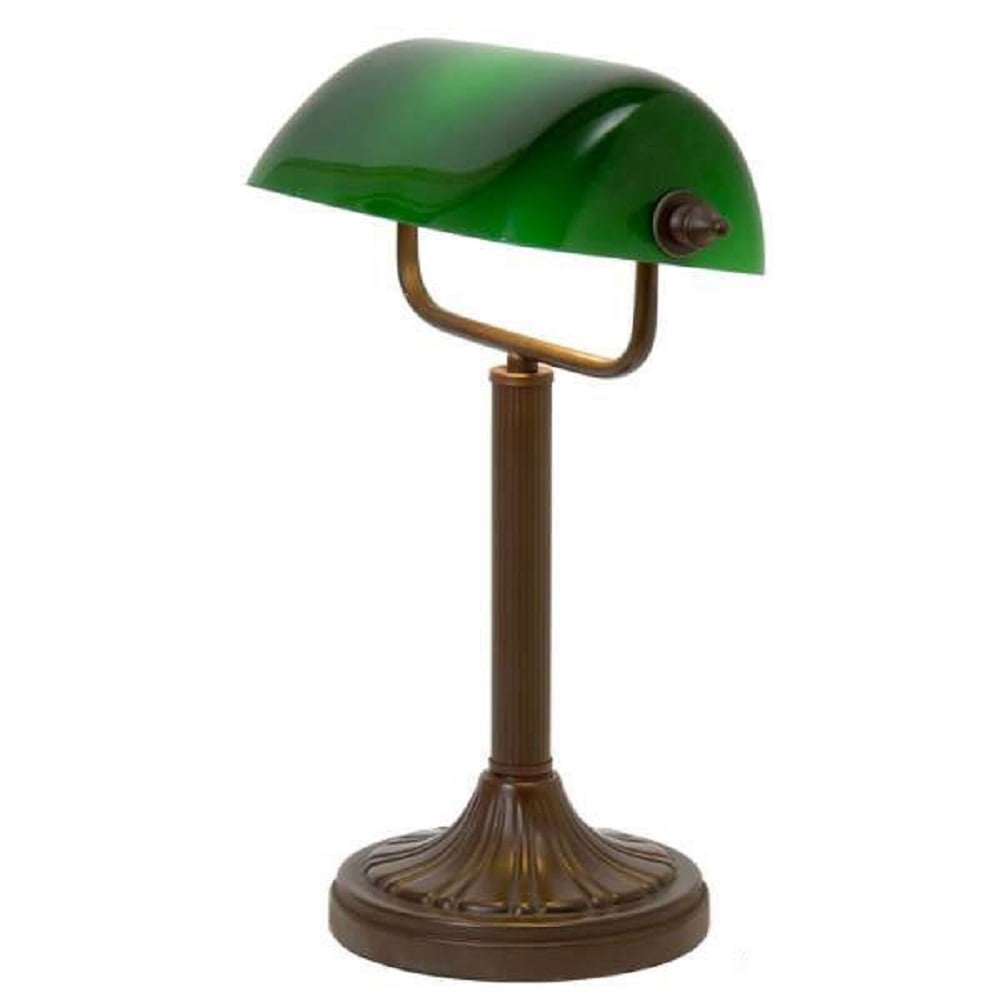 Antique Bronze Base Bankers Lamp With Adjustable Green