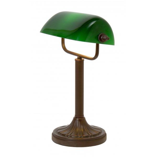traditional aged brass bankers lamp desk light with green. Black Bedroom Furniture Sets. Home Design Ideas