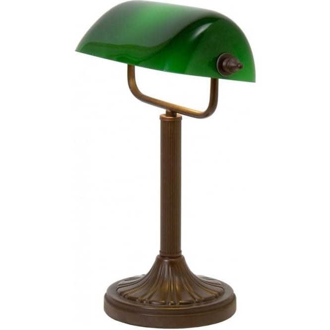 traditional aged brass bankers lamp desk light with green. Black Bedroom Furniture Sets. Home Design Ideas