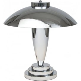 CHARLTON Art Deco chrome table lamp with dome shade