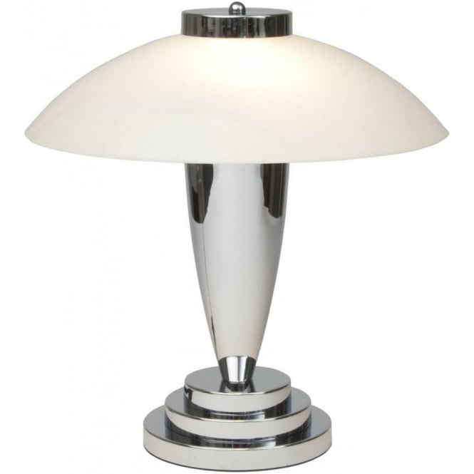 Charlton Art Deco Chrome Table Lamp With White Glass Shade