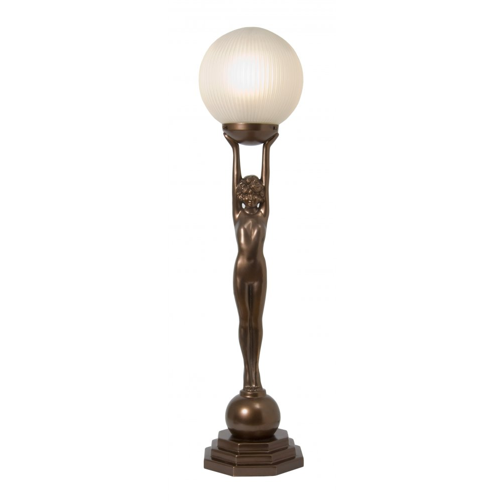 brass art deco table lamp wtih standing lady holding globe glass shade. Black Bedroom Furniture Sets. Home Design Ideas