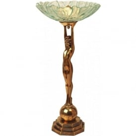 DECO LADY Art Deco female figure table lamp (textured glass dish shade)