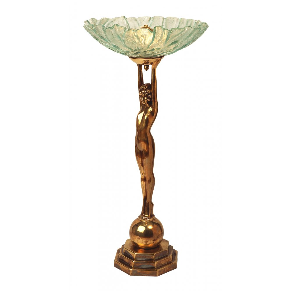 Art Deco Wall Lamp Shades : Art Deco Lady Table Lamp in Heavy Cast Brass with Bowl Glass Shade