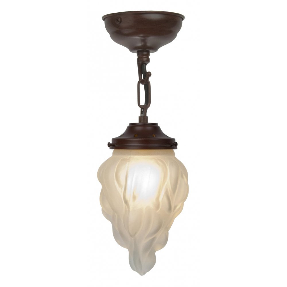 Art Deco Outdoor Hanging Lights: Art Deco Flambeau Glass Ceiling Pendant On Antique Frame