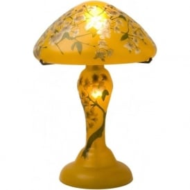GALLE style Art Nouveau gold glass table lamp with floral design