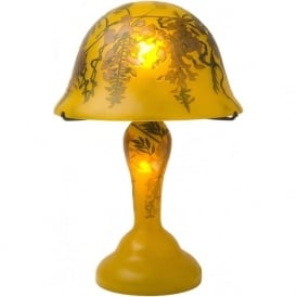 GALLE style Art Nouveau gold glass table lamp with wisteria design