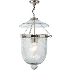 GEORGIAN bell jar hall lantern with fern patterned glass - chrome small