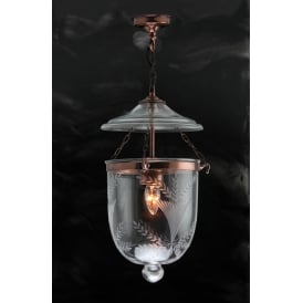 GEORGIAN bell jar hall lantern with fern patterned glass - copper small