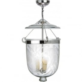 GEORGIAN bell jar hall lantern with fern patterned glass (large)
