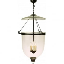 GEORGIAN glass bell jar hall lantern on antique fitting (large)