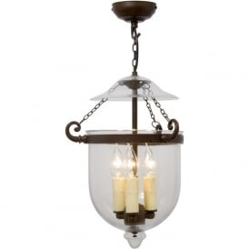 GEORGIAN glass bell jar hall lantern on antique fitting (medium)