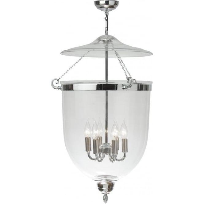 Georgian Large Glass Bell Jar Hall Lantern On Chrome Fitting