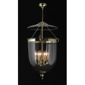 GEORGIAN large glass bell jar hall lantern on polished brass fitting