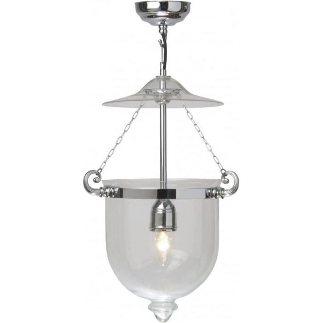 Traditional georgian bell jar hanging hall lantern mouth blown glass georgian medium glass bell jar hall lantern on chrome fitting aloadofball Choice Image