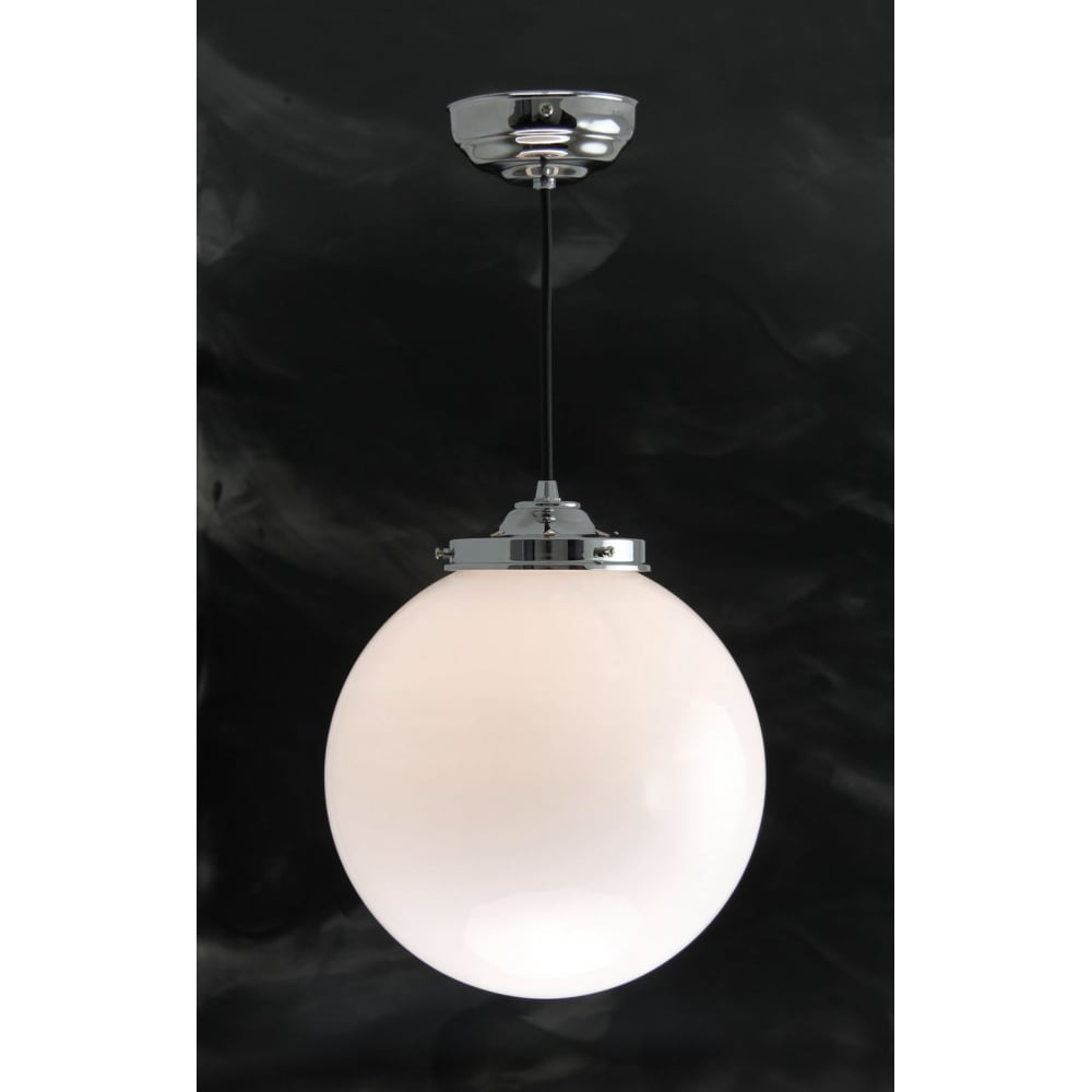 Iconic opal glass globe ceiling pendant on polished chrome fitting globe pendant classic white opal glass ceiling light on chrome fitting mozeypictures Image collections