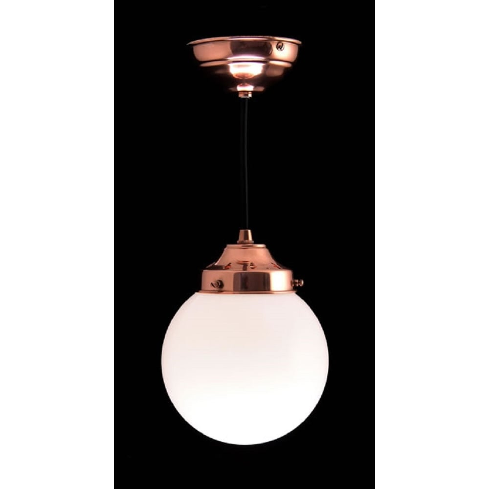 separation shoes 8eaa5 0f385 GLOBE PENDANT classic white opal glass ceiling light on copper fitting