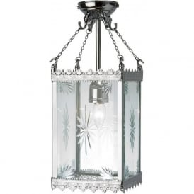 GOTHIC chrome hall lantern with patterned glass