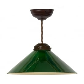 GREEN COOLIE SHADE ceiling pendant on dark bronze fitting