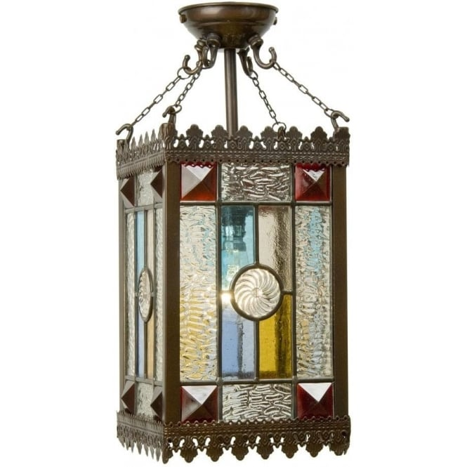 Victorian Gothic Style Entrance Hall Lantern With Stained