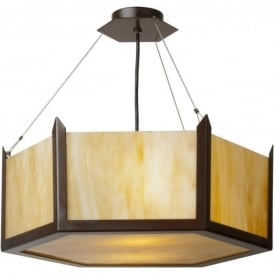 HUDSON amber glass Art Deco ceiling pendant light (large)