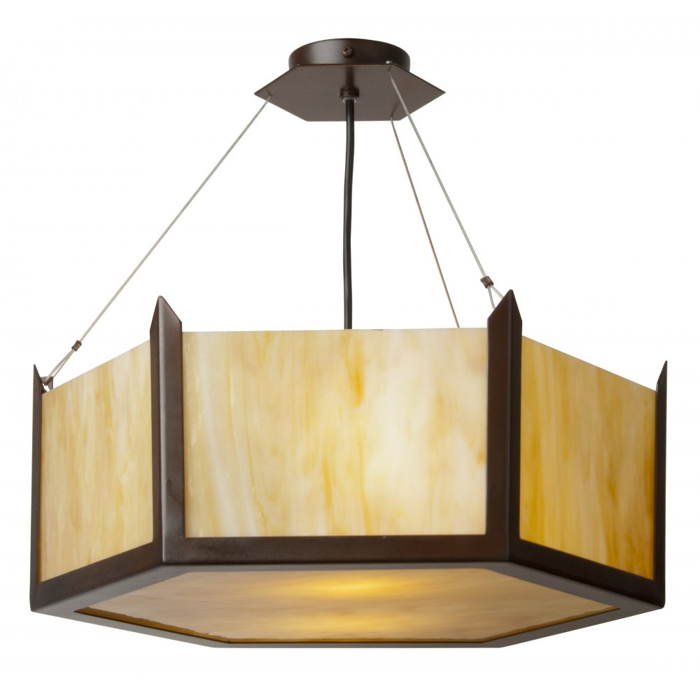 Art Deco Uplighter Ceiling Pendant with Hexagonal Amber ...