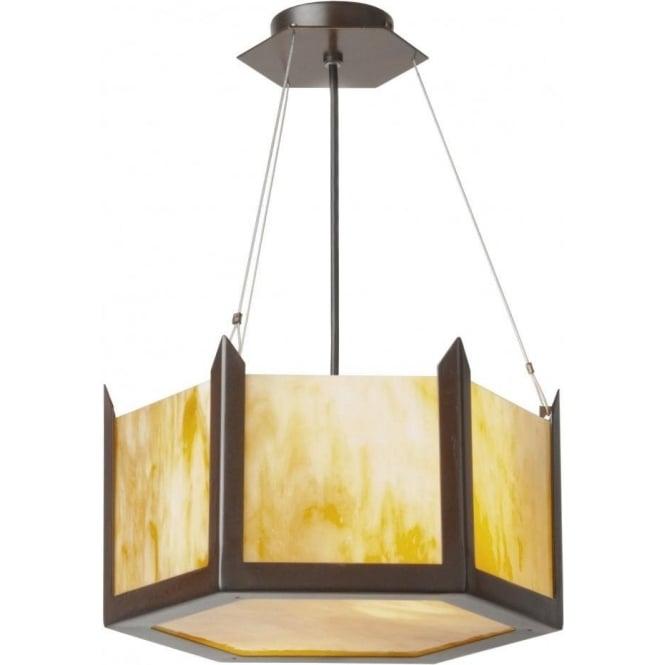 Small art deco uplighter ceiling pendant hexagonal shaped amber glass hudson amber glass art deco ceiling pendant light small aloadofball Images