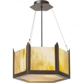 HUDSON amber glass Art Deco ceiling pendant light (small)