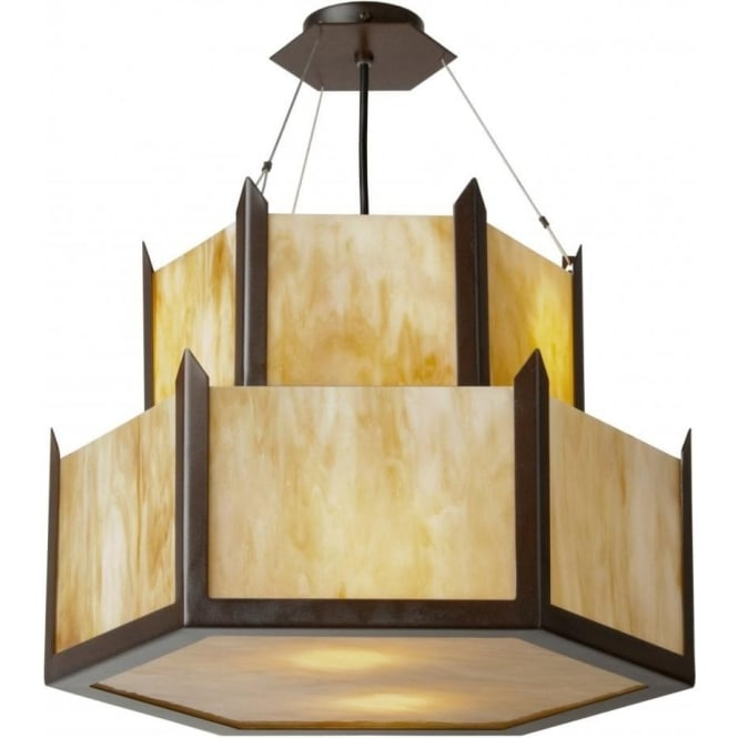Art deco chandelier in hexagonal design amber glass on antique frame hudson art deco chandelier 2 tier hexagonal ceiling light aloadofball Image collections