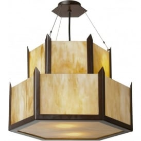 HUDSON Art Deco chandelier, 2 tier hexagonal ceiling light